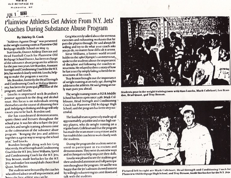 1990 article Old Bethpage Herold stating Lee Asst Strength Coach NY Jets